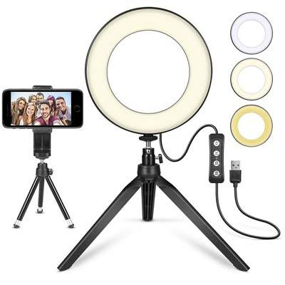 "MACTREM LED Ring Light 6"" with Tripod Stand"